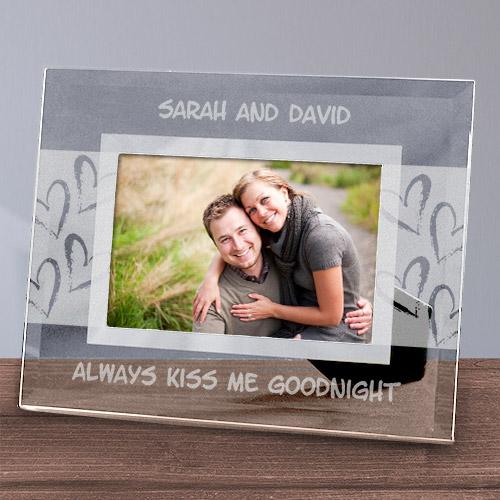 Personalized Always Kiss Me Goodnight Glass Frame