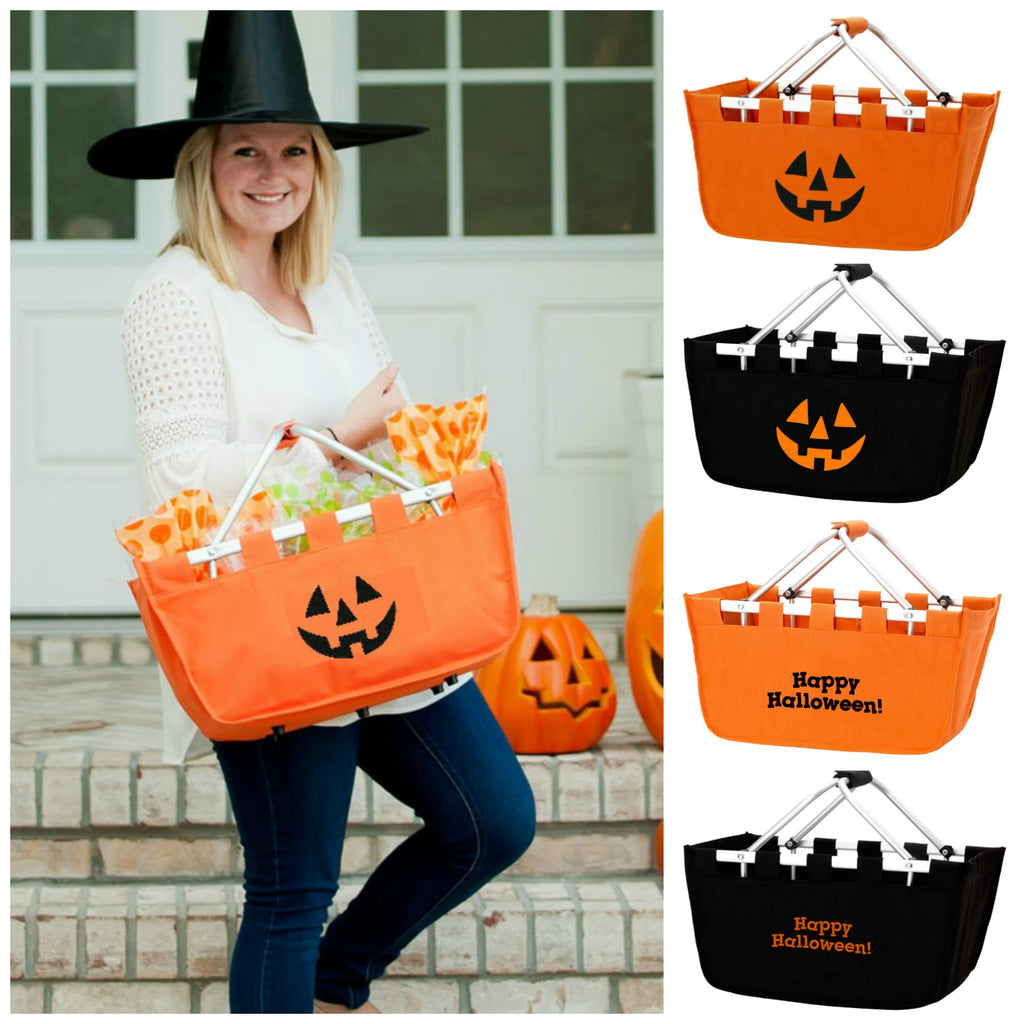 Embroidered Halloween Baskets - Jack O'Lantern & Happy Halloween