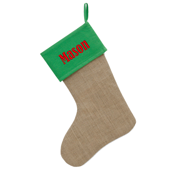 Personalized Red & Burlap Jute Christmas Stocking