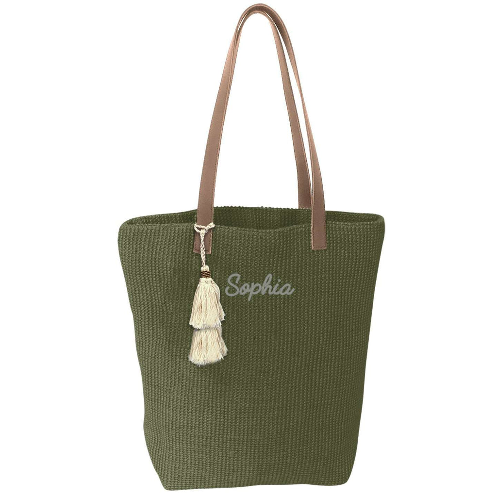 Personalized Jute Tote Bags - Vegan Leather Straps