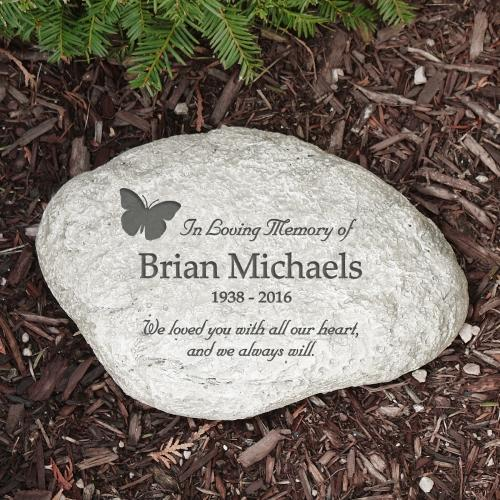 Personalized In Loving Memory Butterfly Garden Stone