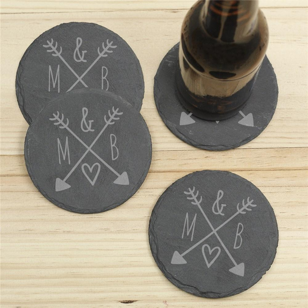 Personalized Arrows & Initials Slate Coaster Set - Valentine's Day Gift