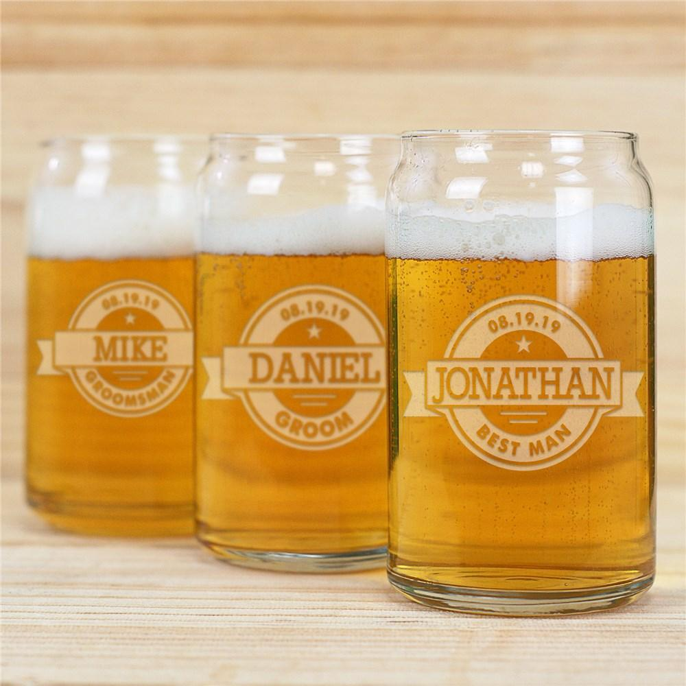 Personalized Engraved Groomsmen Beer Can Glass