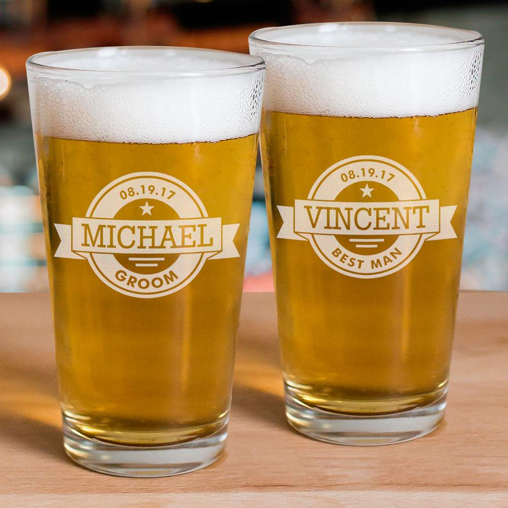 Personalized Engraved Groomsmen Beer Glass