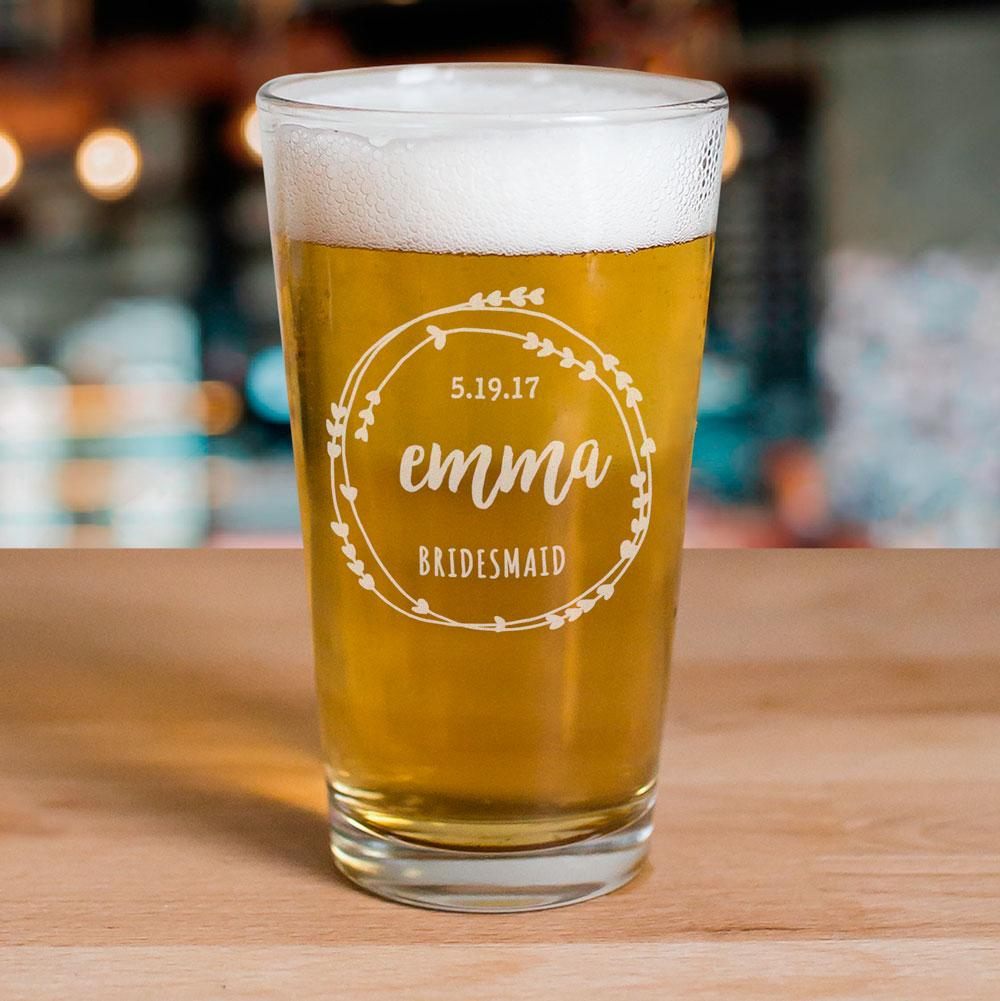 Personalized Bridal Party Beer Glass