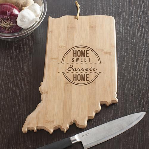 Personalized Indiana State Cutting Board