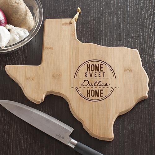 Personalized Texas State Cutting Board