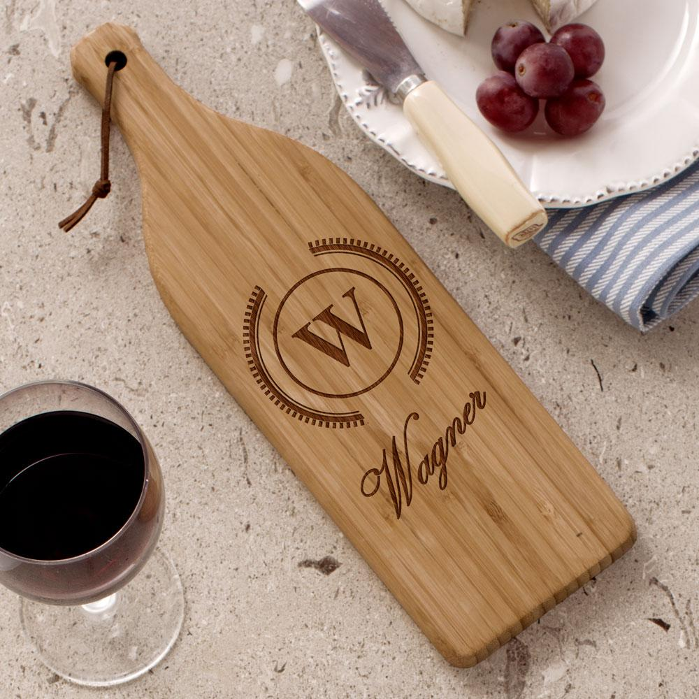 Personalized Engraved Initial Large Wine Bottle Cutting Board