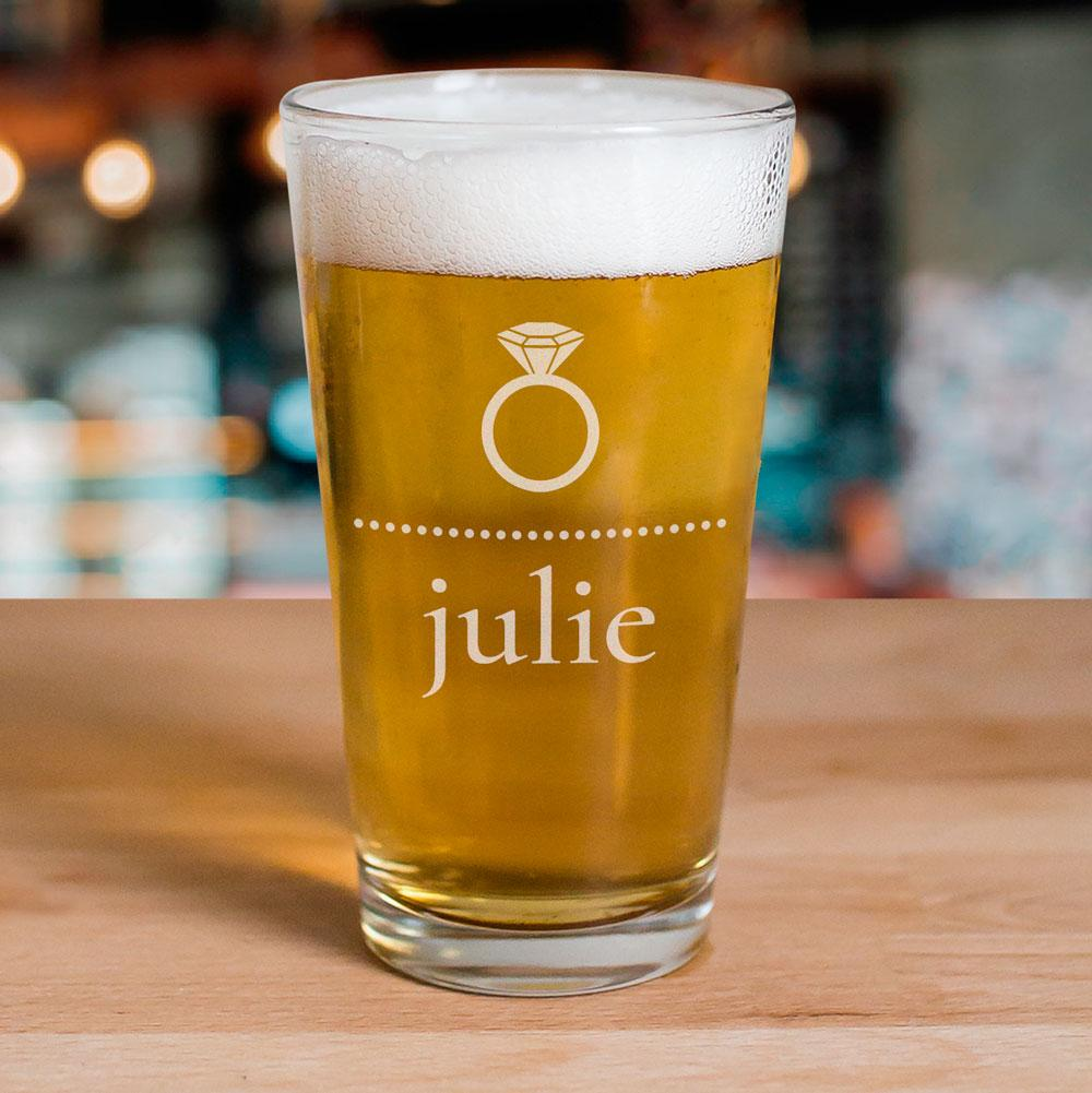 Personalized Engraved Bride Beer Glass