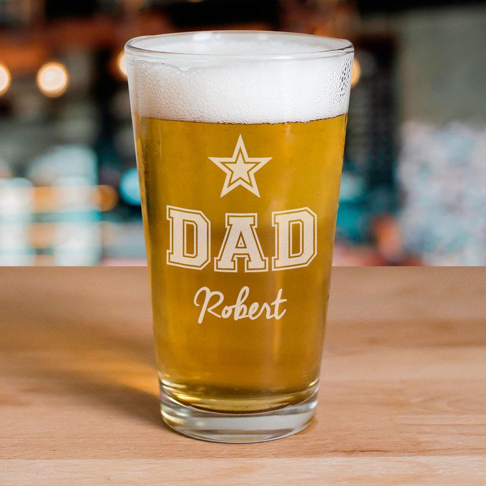 Personalized Engraved star Beer Glass
