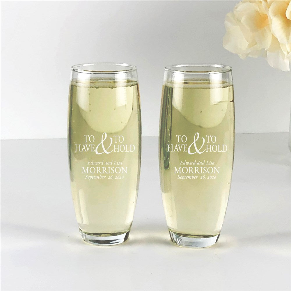 Personalized Engraved To Have and To Hold Stemless Flute Set