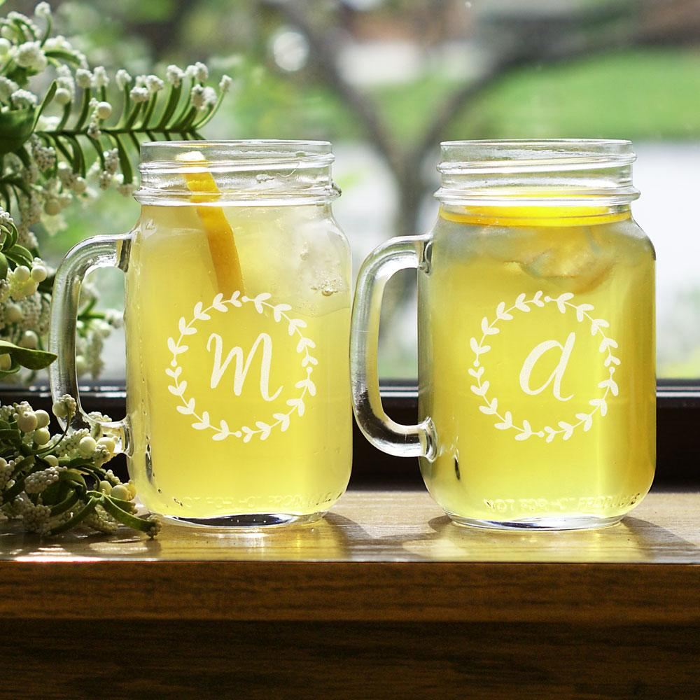 Personalized Engraved Wreath Initial Mason Jar Set - Valentine's Day Gift
