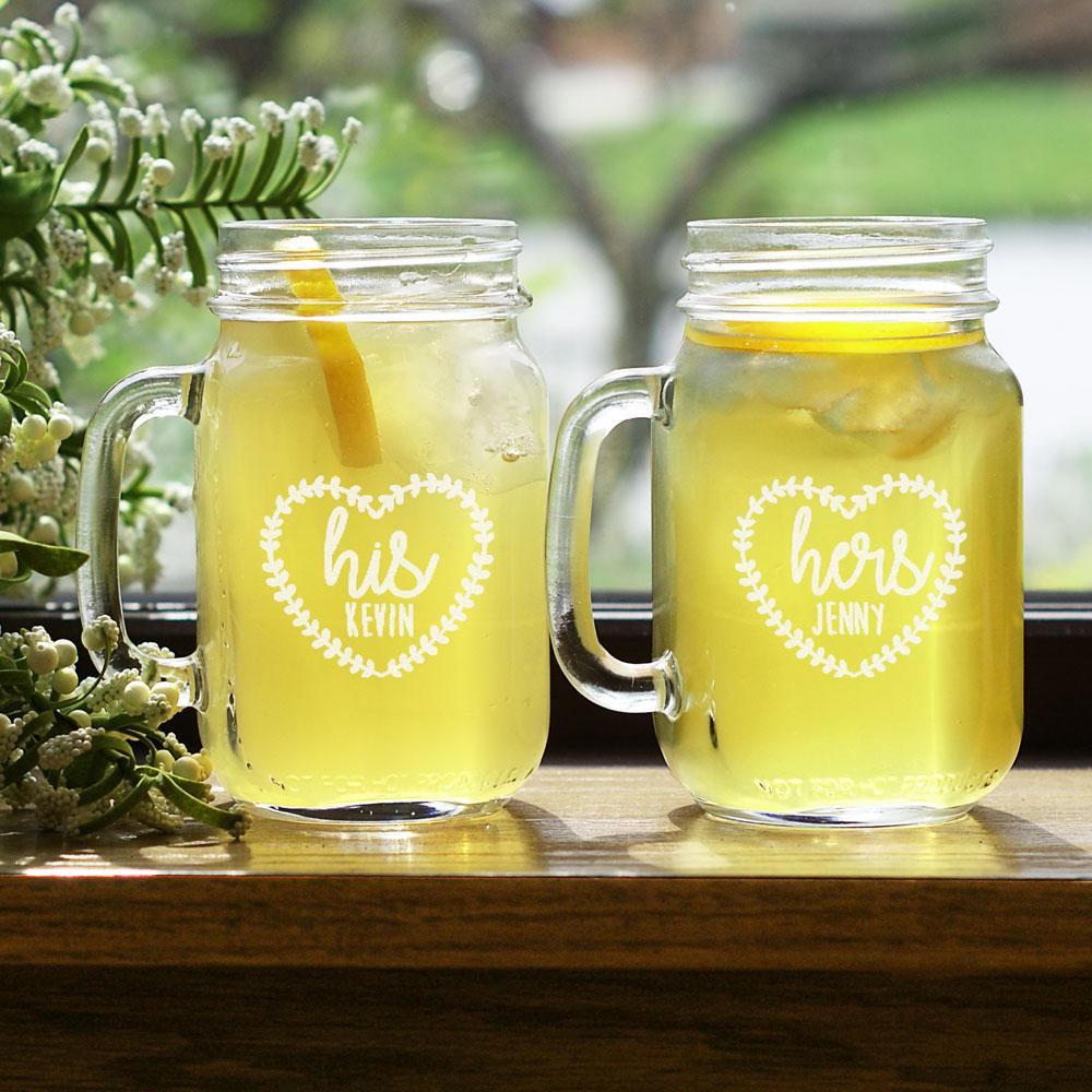 Personalized Engraved His And Hers Heart Mason Jar Set - Valentine's Day Gift