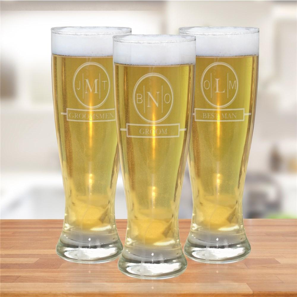 Personalized Engraved Monogram Bridal Party Pilsner Glass