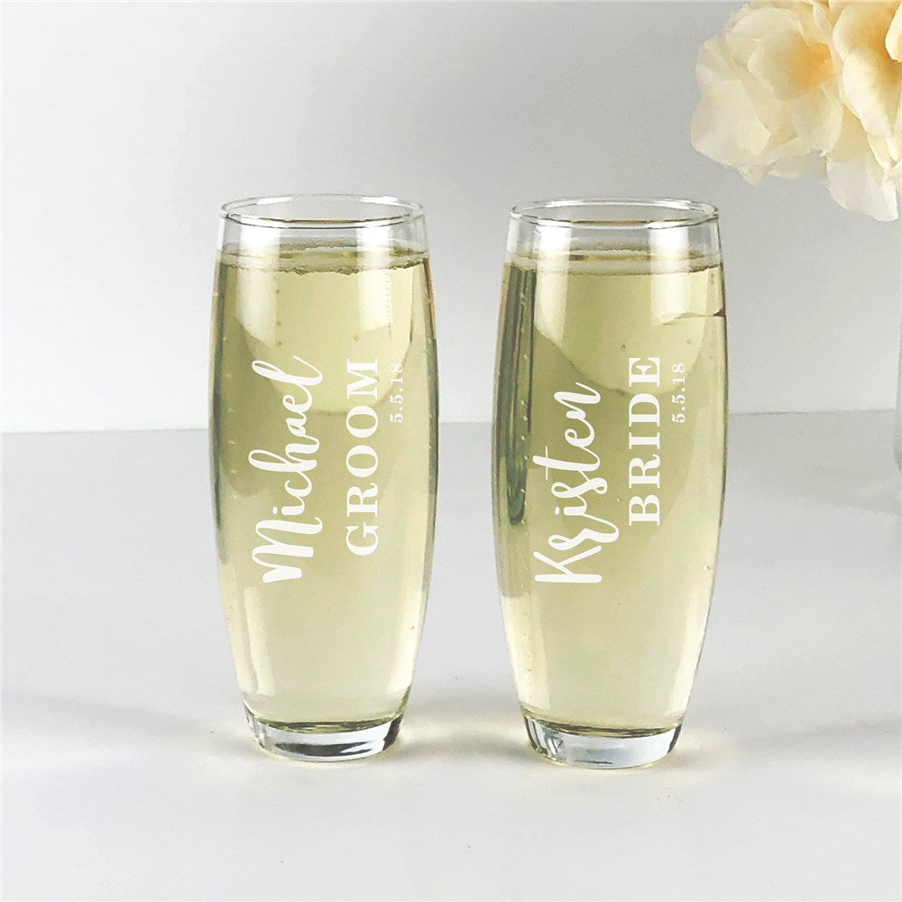Personalized Engraved Bride and Groom Stemless Flute Set