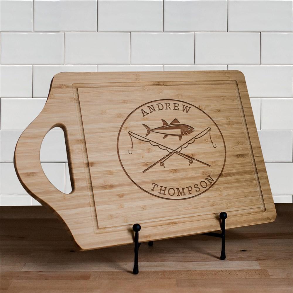Personalized Engraved Fishing Poles Cutting Boards