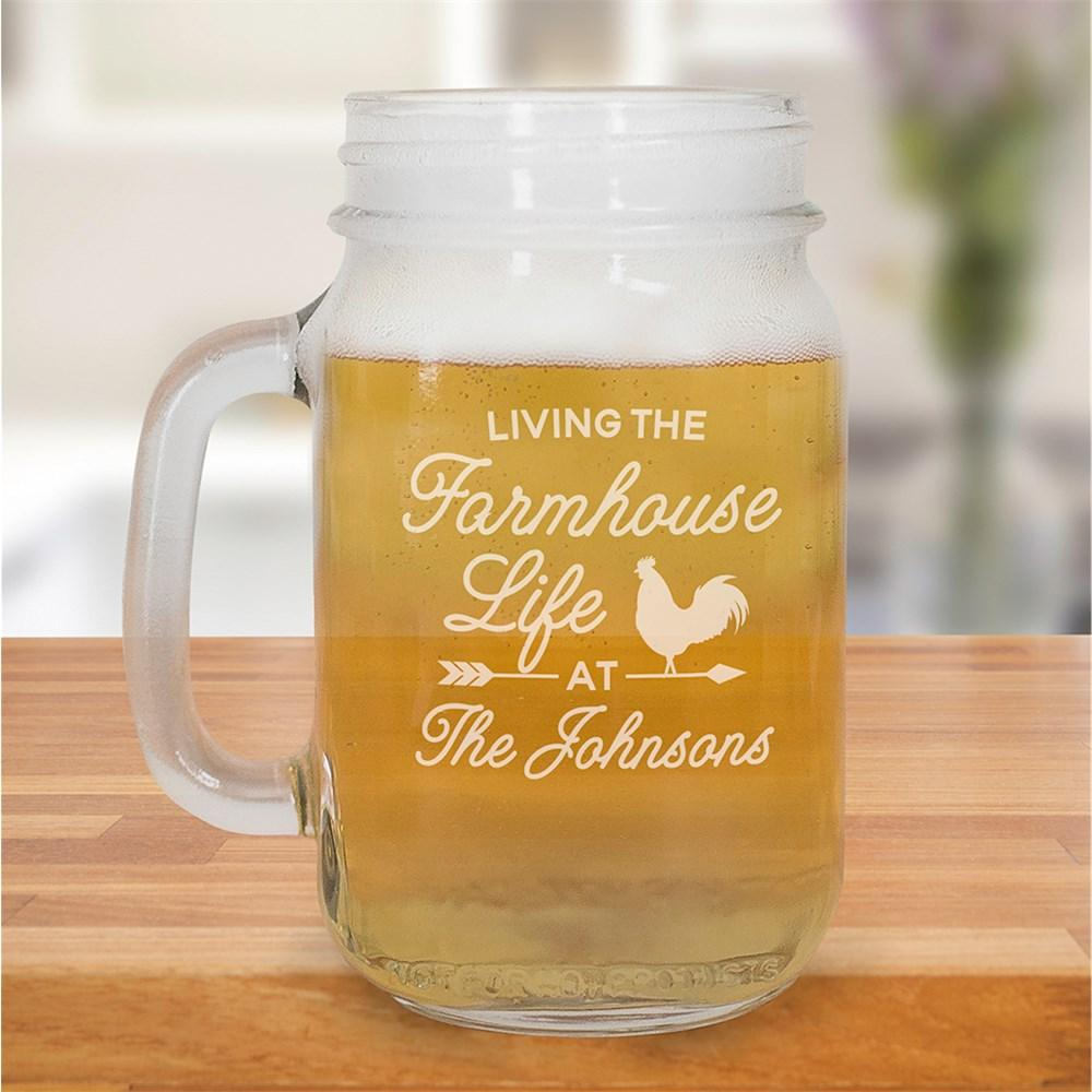 Personalized Engraved Farmhouse Life Mason Jar