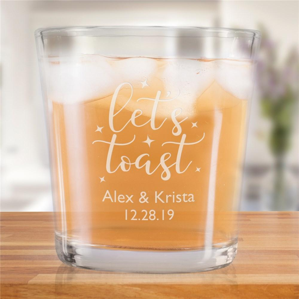 Personalized Engraved Lets Toast Rocks Glass