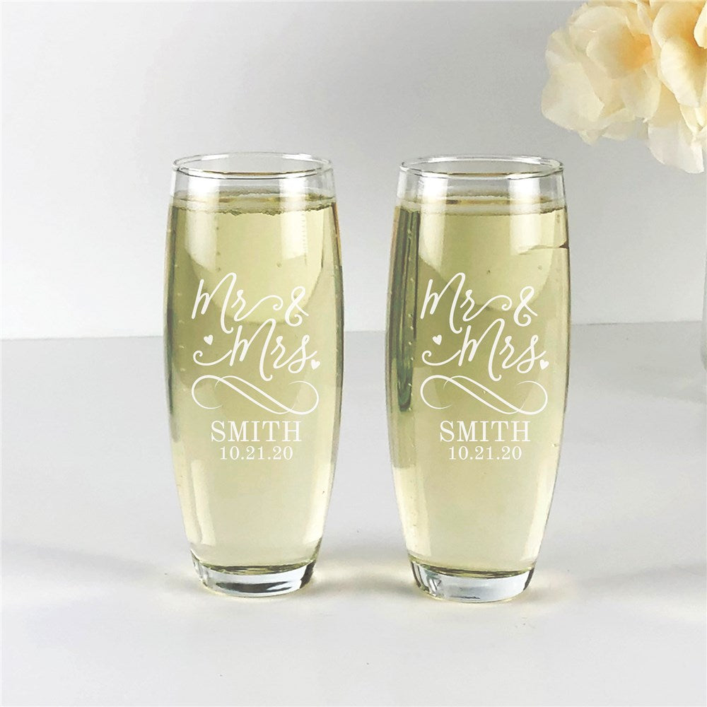 Personalized Engraved Mr & Mrs Stemless Flute Set