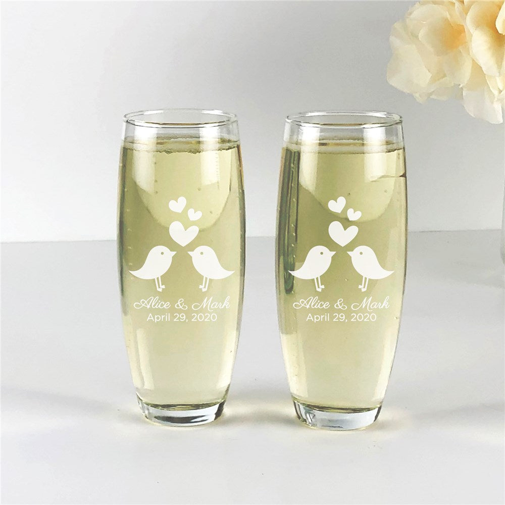 Personalized Engraved Love Birds Stemless Flute Set
