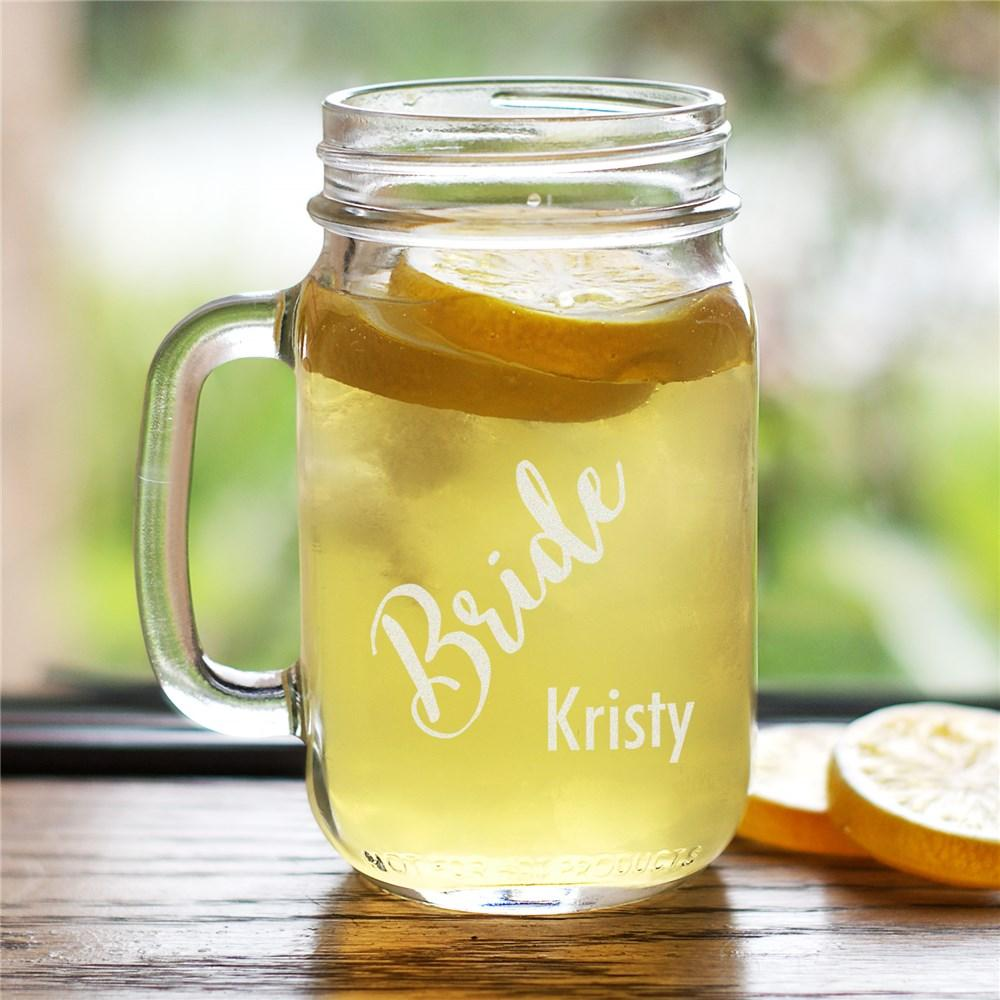 Personalized Engraved Wedding Party Mason Jar