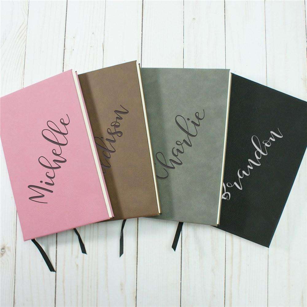 Personalized Diagonal Name Leather Journal - Valentine's Day Gift