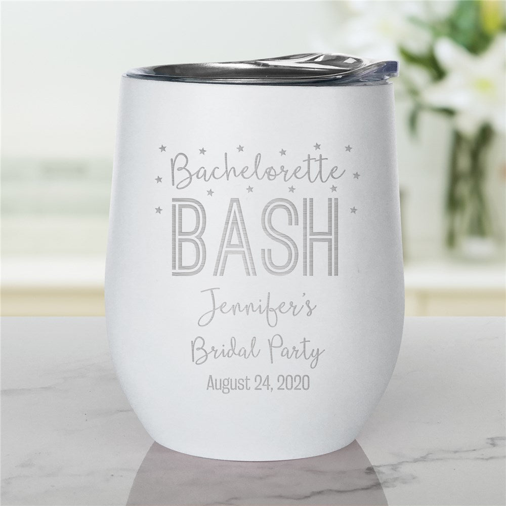 Personalized Engraved Bachelorette Bash Stemless Wine Tumbler