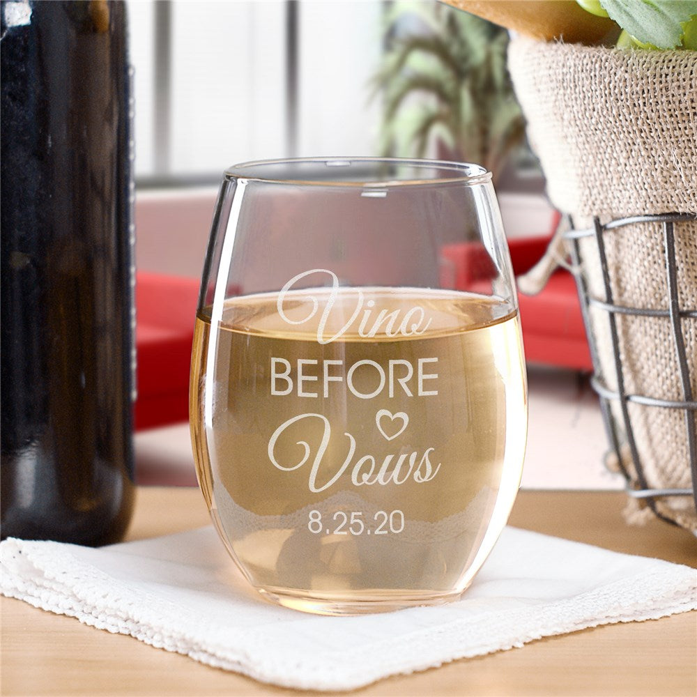 Personalized Engraved Vino Before Vows Stemless Wine Glass