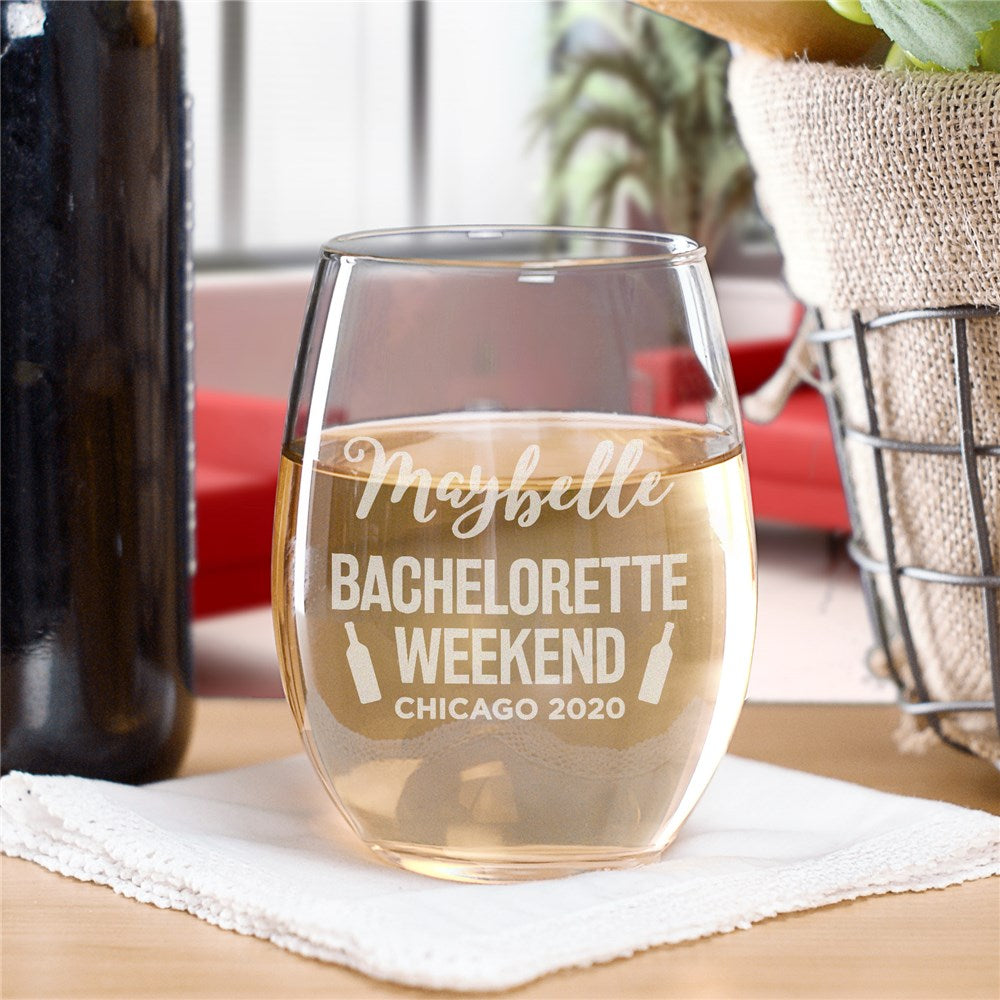 Personalized Engraved Bachelorette Weekend Stemless Wine Glass