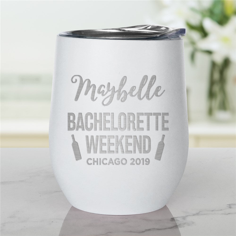 Personalized Engraved Bachelorette Weekend Stemless Wine Tumbler