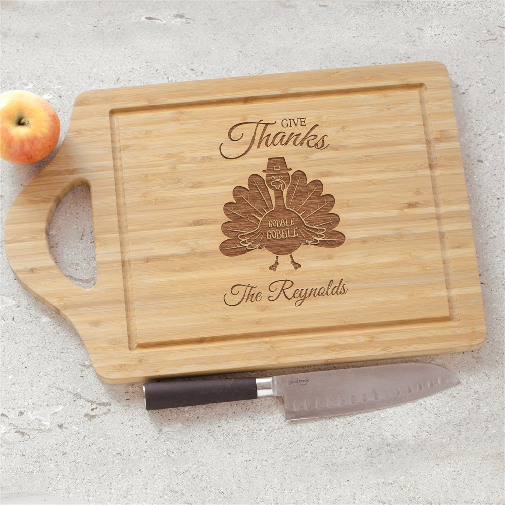 Personalized Engraved Give Thanks Turkey With Hat Large Cutting Board