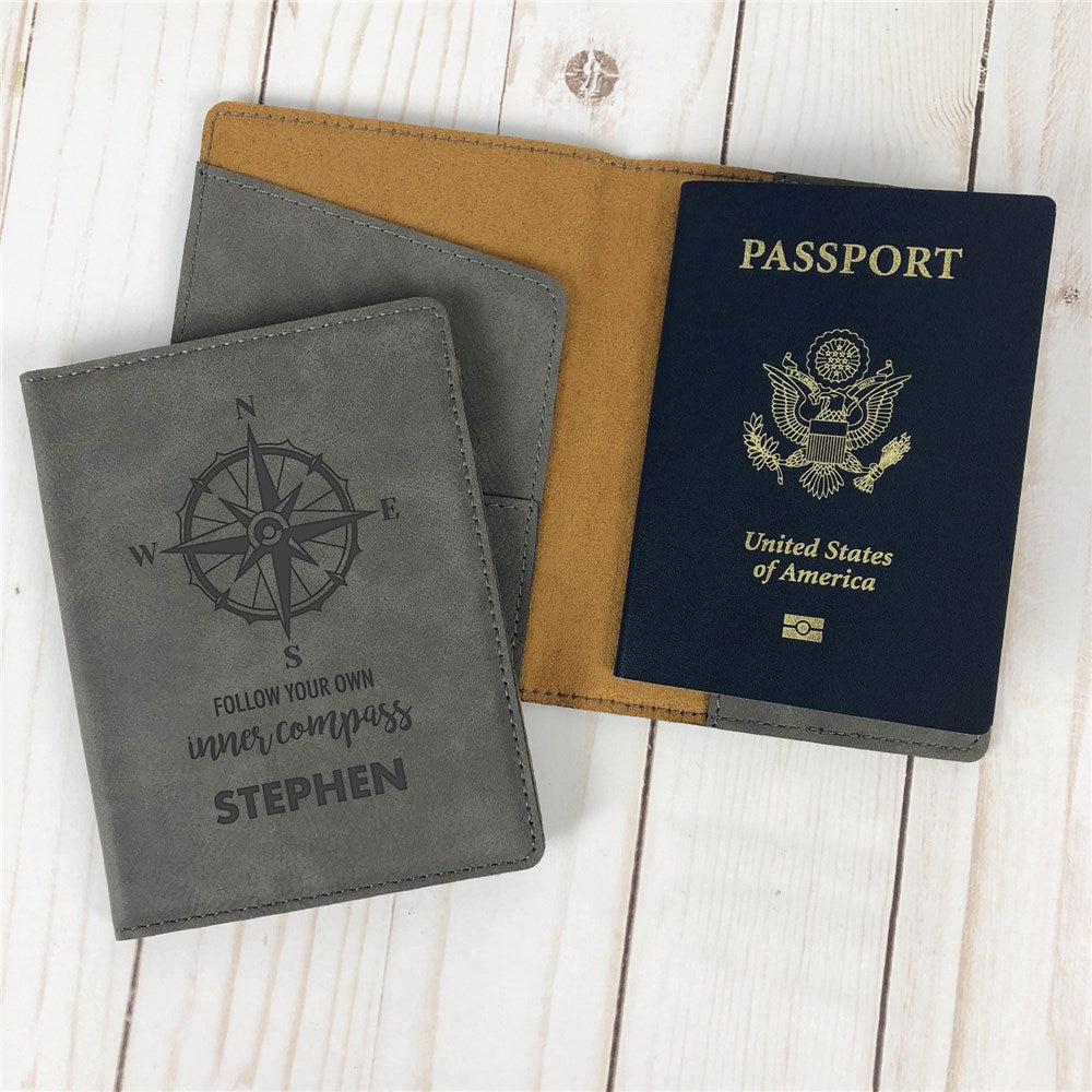 Personalized Follow Your Own Inner Compass Passport Holder