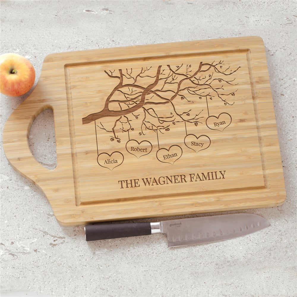 Personalized Engraved Family Tree With Hearts Cutting Board