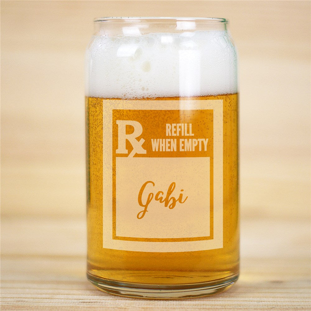 Personalized Engraved Prescription Rx Beer Can Glass