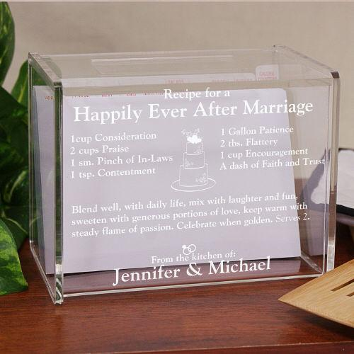Personalized Engraved Happily Ever After Acrylic Recipe Box