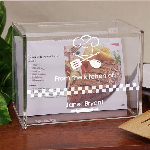 Personalized Engraved From The Kitchen Of Acrylic Recipe Box