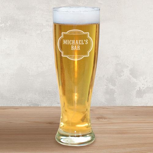 Personalized Engraved Glass Bar Pilsner