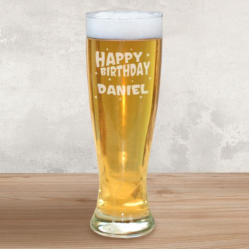 Personalized Engraved Birthday Pilsner Glass