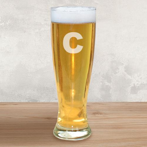 Personalized Engraved Initial Glass Pilsner