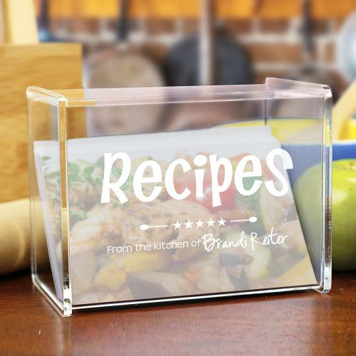 Personalized Engraved Kitchen Recipe Acrylic Recipe Box