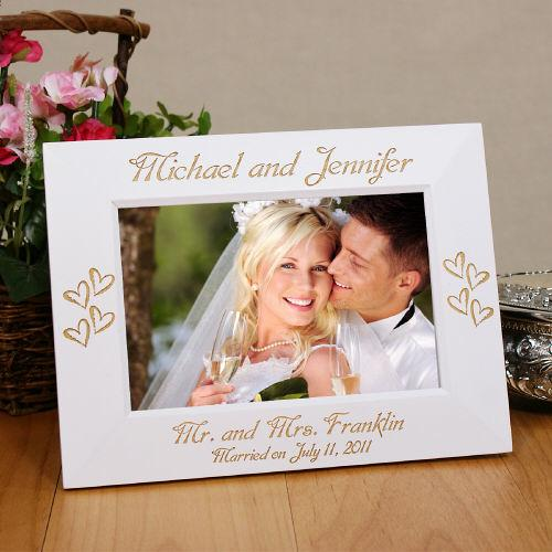 Personalized Engraved Mr. And Mrs. White Wedding Frame