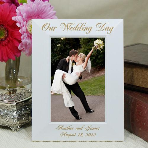 Personalized Engraved Wedding Day White Picture Frame