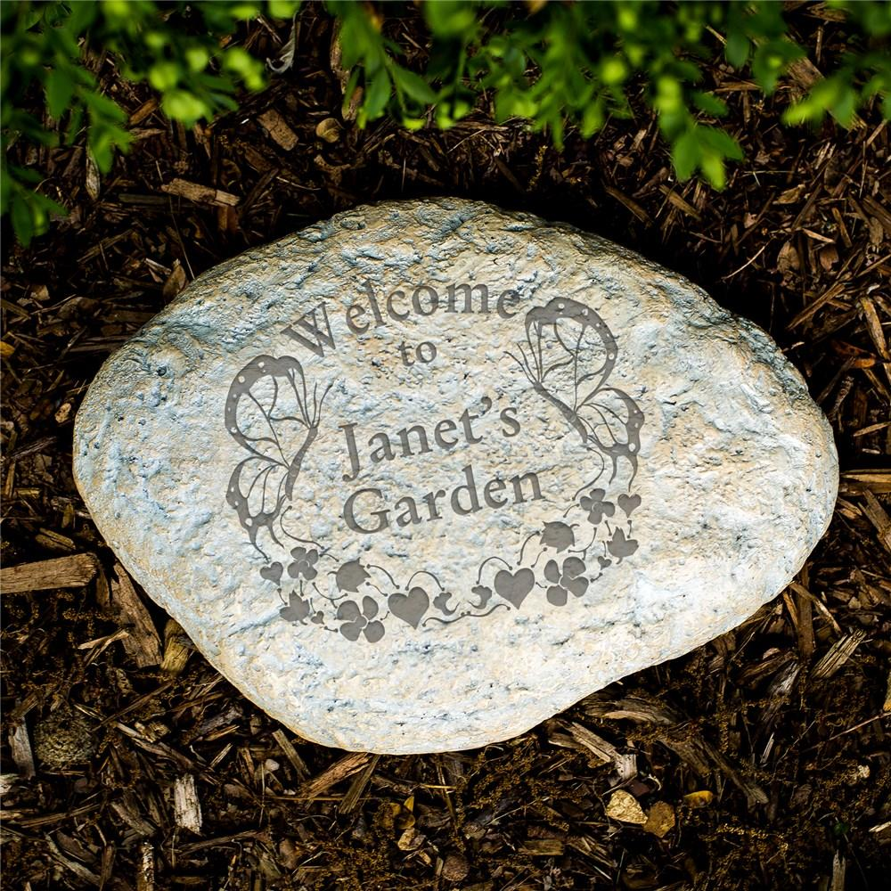Personalized Engraved Butterfly Garden Welcome Stone