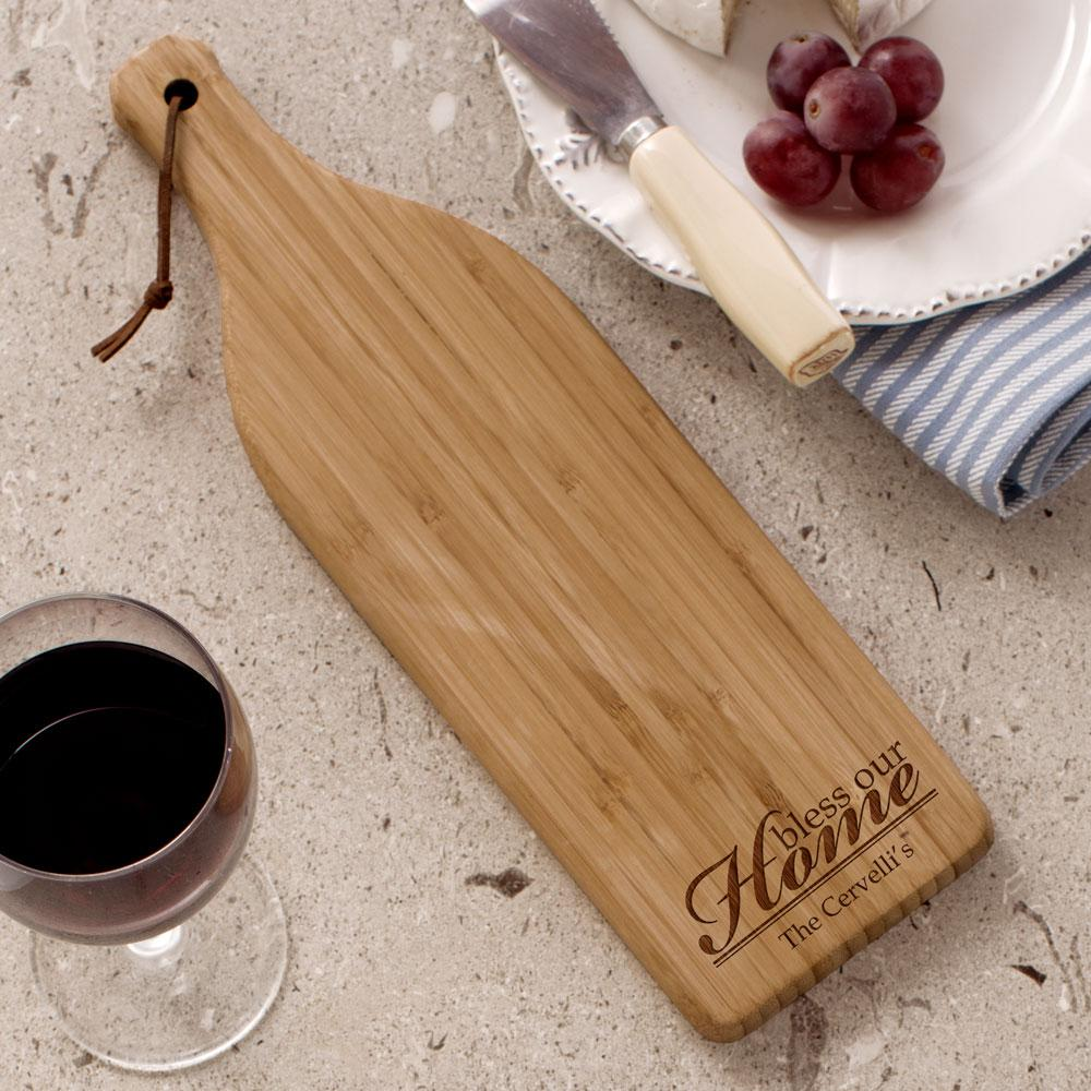 Personalized Engraved Bless Our Home Wine Bottle Cheese Board