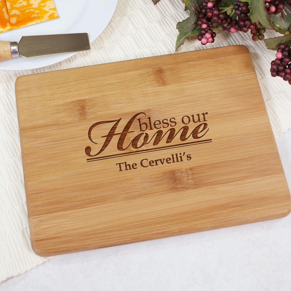 Personalized Engraved Bless Our Home Bamboo Cheese Board