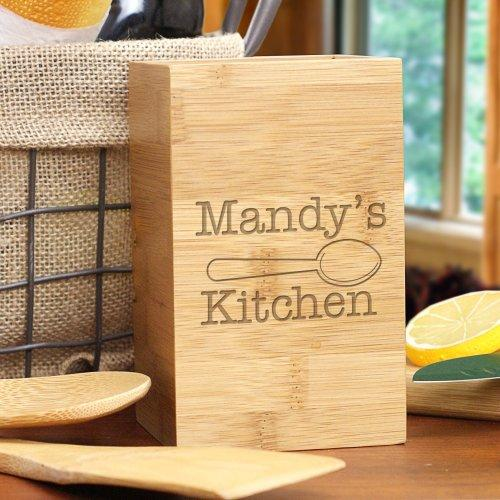 Personalized Engraved Kitchen Bamboo Utensil Holder