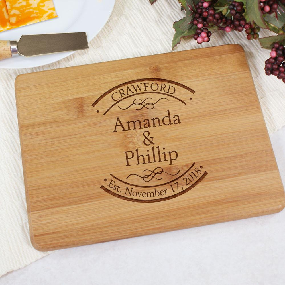 Personalized Engraved Couple's Bamboo Cheese Board