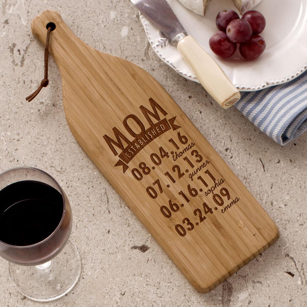 Personalized Engraved Mom Established Wine Bottle Cutting Board