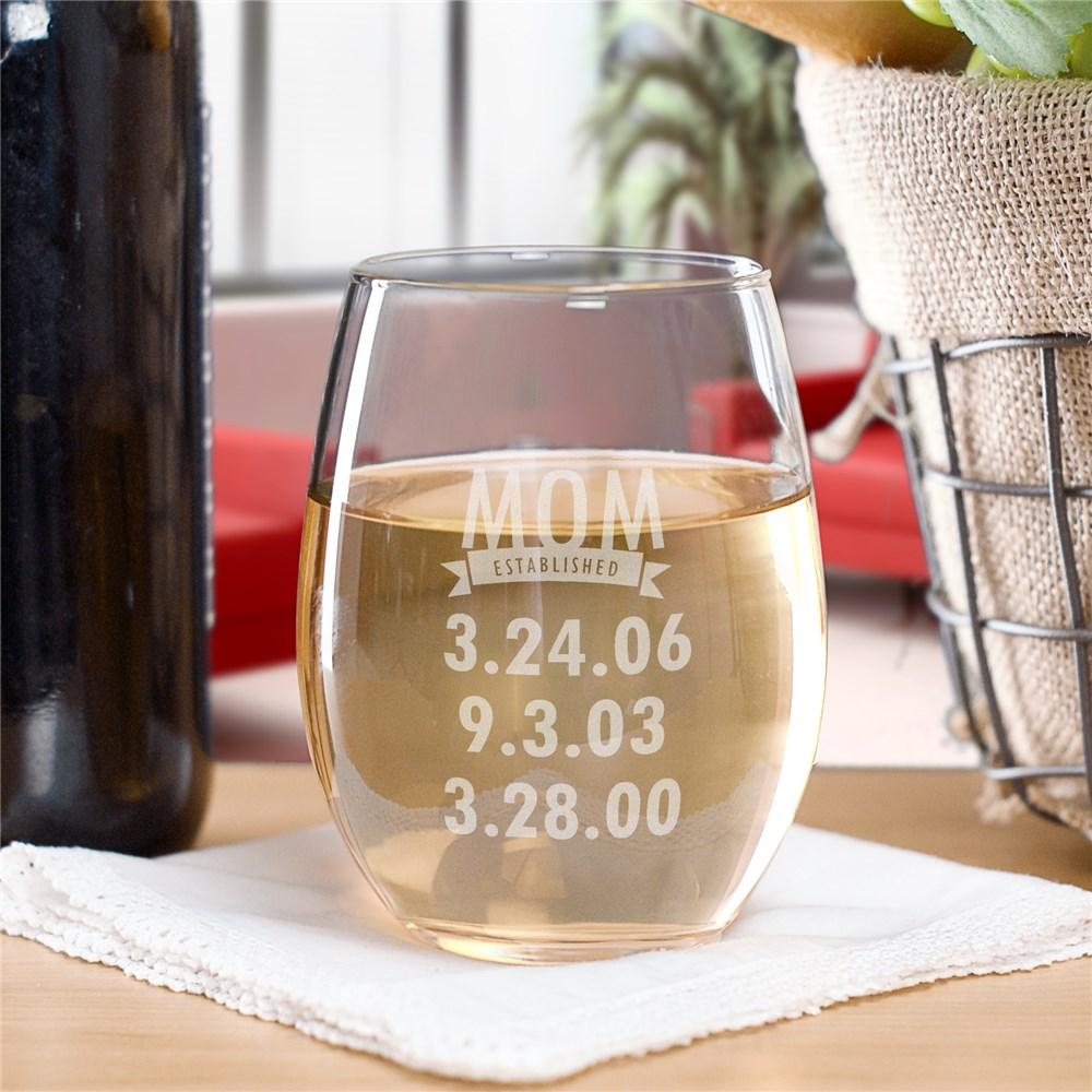 Personalized Engraved Mom Established Stemless Wine Glass