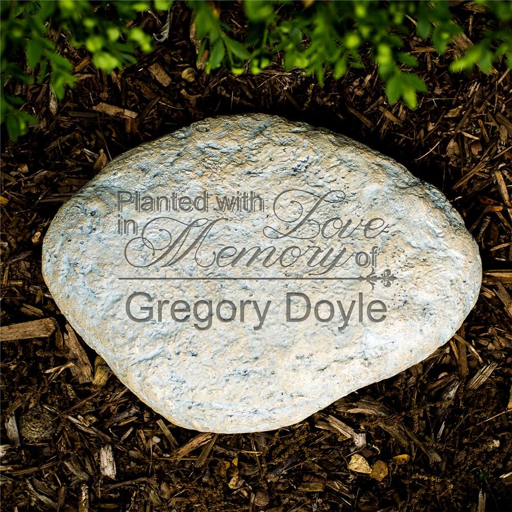 Personalized Engraved Planted With Love Memorial Garden Stone